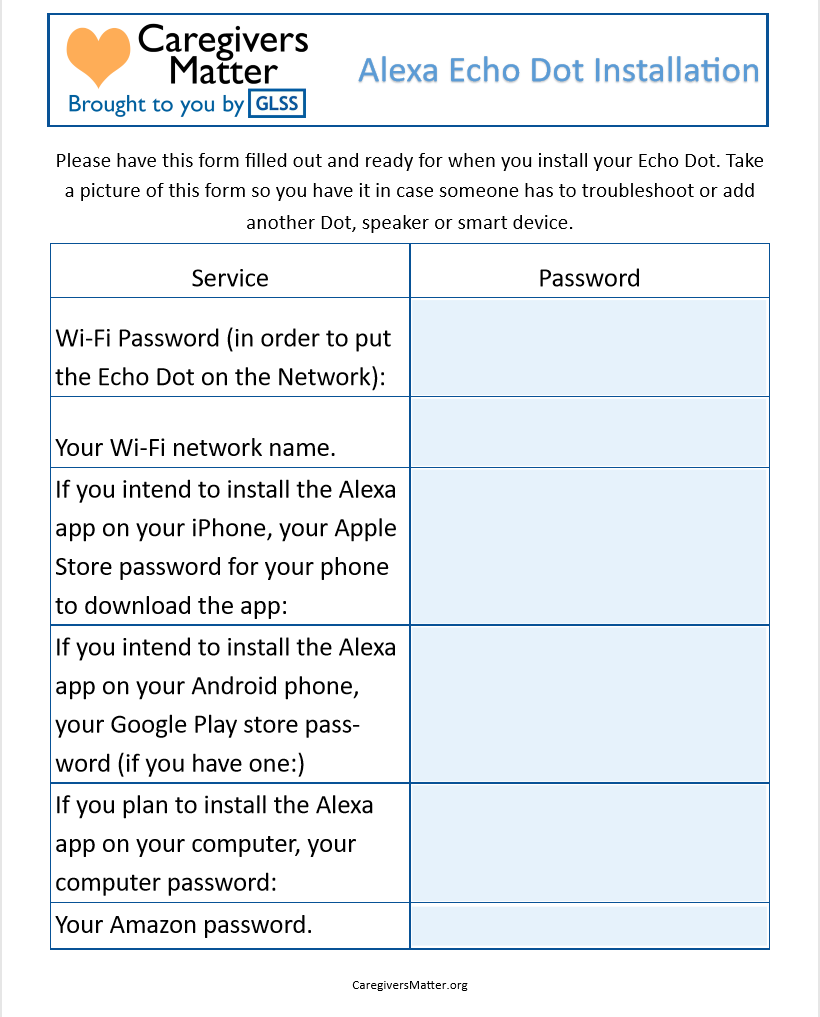 Picture of a pdf fillable form for passwords.