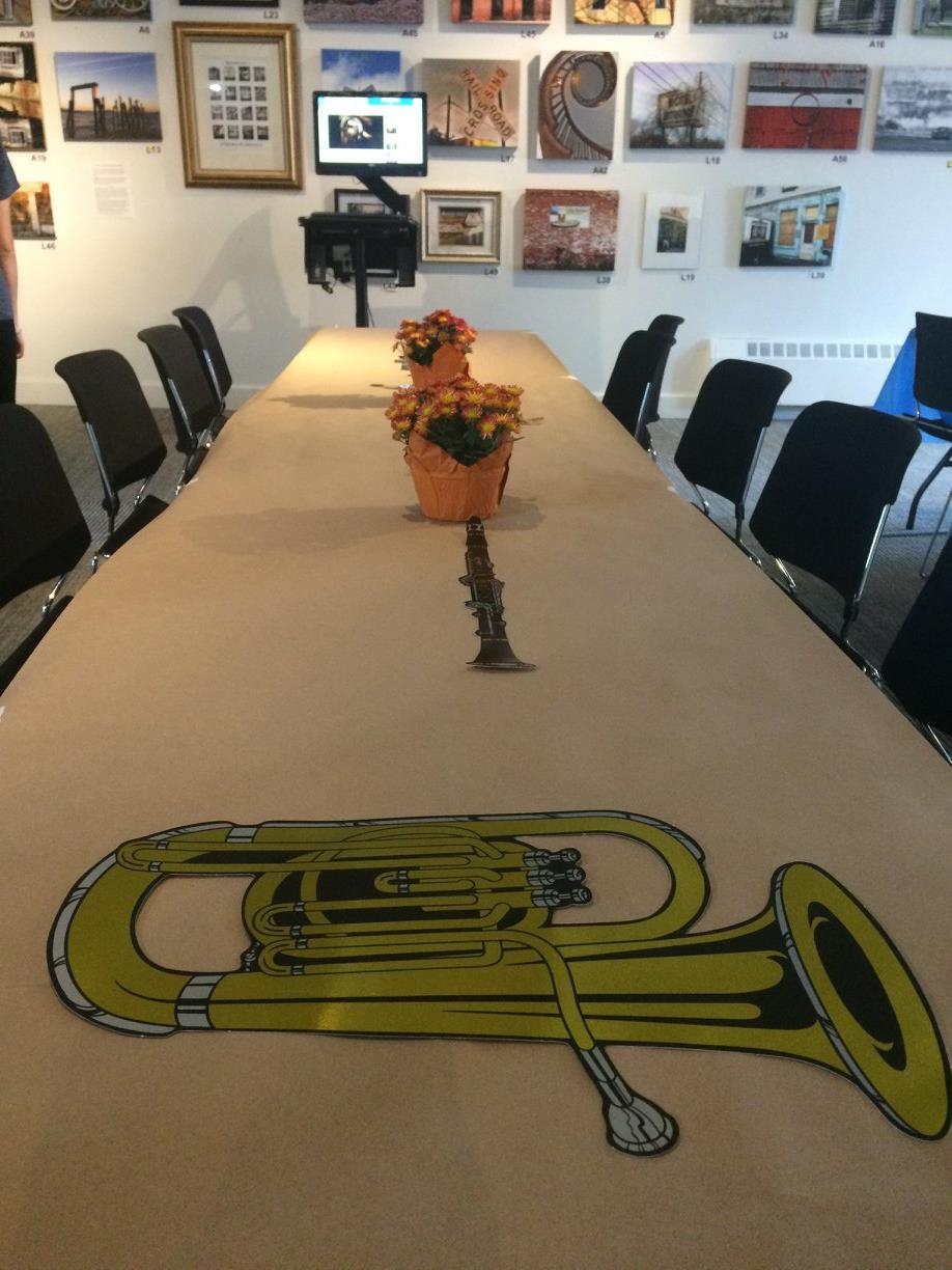 Musical Instrument cutout on table