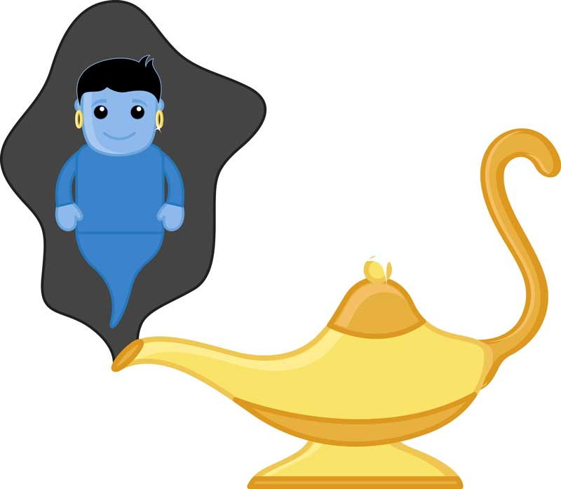 A genie with a lamp